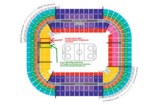 Stadionplan mit der Empfehlung für den Standort für die Fanclubmitglieder und unsere Freunde.